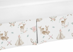 Blush Pink, Mint Green and White Boho Girl Pleated Baby Crib Bed Skirt Dust Ruffle for Woodland Deer Floral Collection by Sweet Jojo Designs