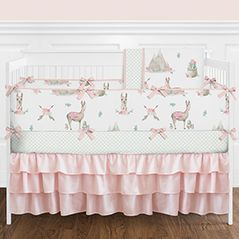 Blush Pink, Mint Green and White Boho Llama Cactus Floral Mountain Baby Girl Crib Bedding Set with Bumper by Sweet Jojo Designs - 9 pieces - Watercolor Rose Arrow