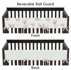 Blush Pink, Mint Green and White Boho Long Front Crib Rail Guard Baby Teething Cover Protector Wrap for Woodland Deer Floral Collection by Sweet Jojo Designs