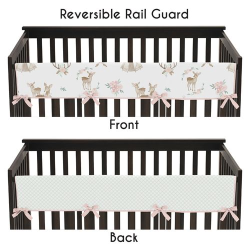 Blush Pink, Mint Green and White Boho Long Front Crib Rail Guard Baby Teething Cover Protector Wrap for Woodland Deer Floral Collection by Sweet Jojo Designs - Click to enlarge