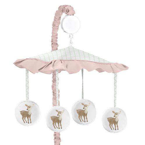 Blush Pink, Mint Green and White Boho Musical Baby Crib Mobile for Woodland Deer Floral Collection by Sweet Jojo Designs - Click to enlarge