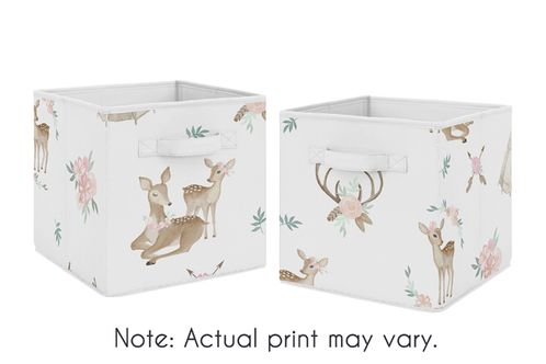 Blush Pink, Mint Green and White Boho Organizer Storage Bins for Woodland Deer Floral Collection by Sweet Jojo Designs - Set of 2 - Click to enlarge