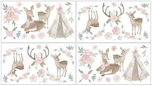 Boho Woodland Deer Floral Peel and Stick Wall Decal Stickers Art Nursery Decor by Sweet Jojo Designs - Set of 4 Sheets - Blush Pink, Mint Green and White - Click to enlarge