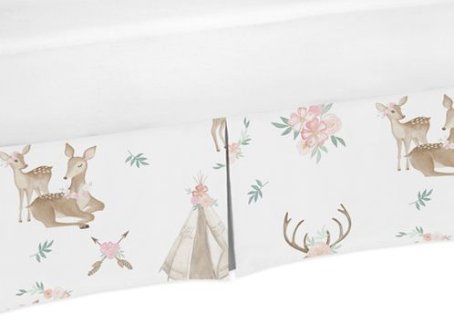 Blush Pink, Mint Green and White Boho Pleated Toddler Bed Skirt Dust Ruffle for Woodland Deer Floral Collection by Sweet Jojo Designs - Click to enlarge