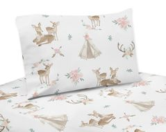 Blush Pink, Mint Green and White Boho Queen Sheet Set for Woodland Deer Floral Collection by Sweet Jojo Designs - 4 piece set