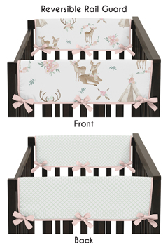 Blush Pink, Mint Green and White Boho Side Crib Rail Guards Baby Teething Cover Protector Wrap for Woodland Deer Floral Collection by Sweet Jojo Designs - Set of 2