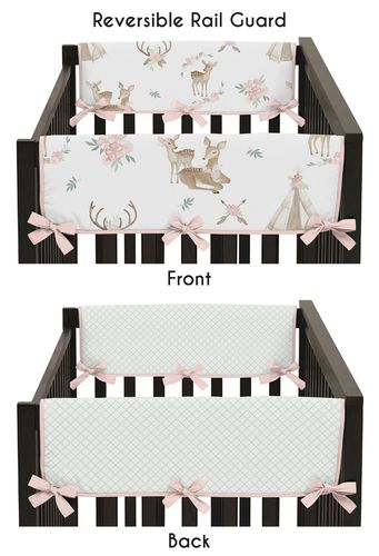 Blush Pink, Mint Green and White Boho Side Crib Rail Guards Baby Teething Cover Protector Wrap for Woodland Deer Floral Collection by Sweet Jojo Designs - Set of 2 - Click to enlarge