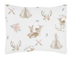 Blush Pink, Mint Green and White Boho Standard Pillow Sham for Woodland Deer Floral Collection by Sweet Jojo Designs