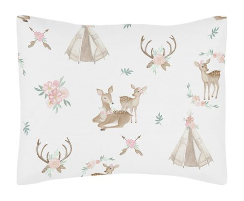 Blush Pink, Mint Green and White Boho Standard Pillow Sham for Woodland Deer Floral Collection by Sweet Jojo Designs - Click to enlarge