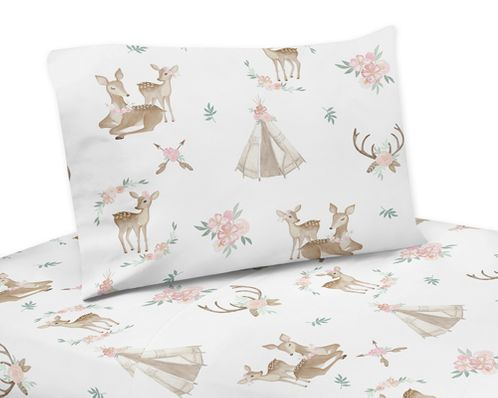 Blush Pink, Mint Green and White Boho Twin Sheet Set for Woodland Deer Floral Collection by Sweet Jojo Designs - 3 piece set - Click to enlarge