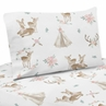 Blush Pink, Mint Green and White Boho Twin Sheet Set for Woodland Deer Floral Collection by Sweet Jojo Designs - 3 piece set