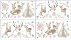 Boho Woodland Deer Floral Peel and Stick Wall Decal Stickers Art Nursery Decor by Sweet Jojo Designs - Set of 4 Sheets - Blush Pink, Mint Green and White
