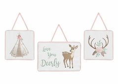 Blush Pink, Mint Green and White Boho Wall Hanging Decor for Woodland Deer Floral Collection by Sweet Jojo Designs - Set of 3