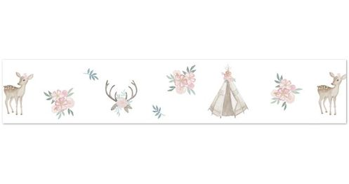 Blush Pink, Mint Green and White Boho Wallpaper Wall Border for Woodland Deer Floral Collection by Sweet Jojo Designs - Click to enlarge