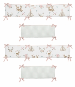 Blush Pink, Mint Green and White Boho Watercolor Baby Crib Bumper Pad for Woodland Deer Floral Collection by Sweet Jojo Designs