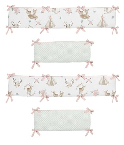 Blush Pink, Mint Green and White Boho Watercolor Baby Crib Bumper Pad for Woodland Deer Floral Collection by Sweet Jojo Designs - Click to enlarge
