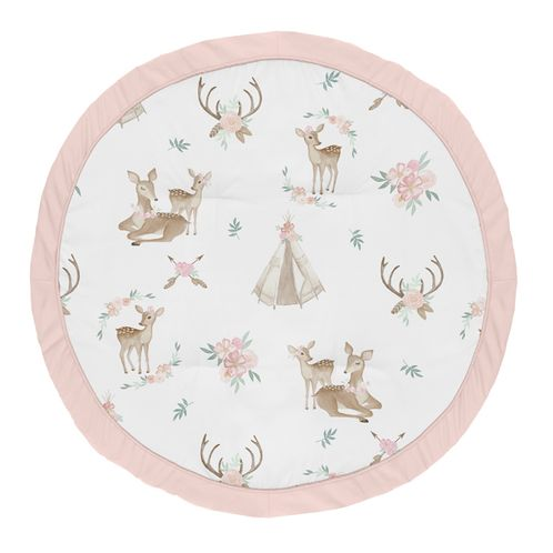 Blush Pink, Mint Green and White Boho Watercolor Playmat Tummy Time Baby and Infant Play Mat for Woodland Deer Floral Collection by Sweet Jojo Designs - Click to enlarge