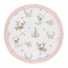 Blush Pink, Mint Green and White Boho Watercolor Playmat Tummy Time Baby and Infant Play Mat for Woodland Deer Floral Collection by Sweet Jojo Designs