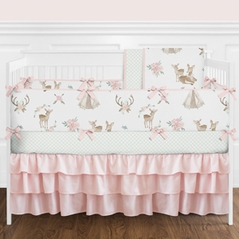 Blush Pink, Mint Green and White Boho Watercolor Woodland Deer Floral Baby Girl Crib Bedding Set with Bumper by Sweet Jojo Designs - 9 pieces