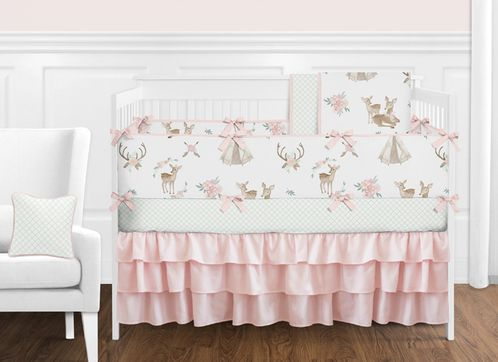 Blush Pink, Mint Green and White Boho Watercolor Woodland Deer Floral Baby Girl Crib Bedding Set with Bumper by Sweet Jojo Designs - 9 pieces - Click to enlarge