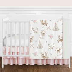 Blush Pink, Mint Green and White Boho Watercolor Woodland Deer Floral Baby Girl Crib Bedding Set without Bumper by Sweet Jojo Designs - 11 pieces