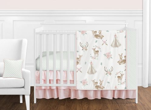 Blush Pink, Mint Green and White Boho Watercolor Woodland Deer Floral Baby Girl Crib Bedding Set without Bumper by Sweet Jojo Designs - 11 pieces - Click to enlarge