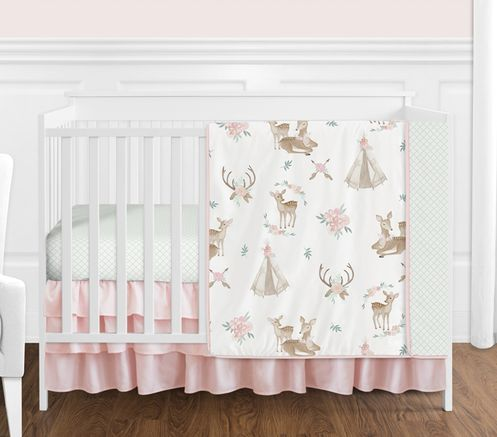 Blush Pink, Mint Green and White Boho Watercolor Woodland Deer Floral Baby Girl Crib Bedding Set without Bumper by Sweet Jojo Designs - 4 pieces - Click to enlarge