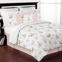 Blush Pink, Mint Green and White Boho Watercolor Woodland Deer Floral Girl Full / Queen Kid Teen Bedding Comforter Set by Sweet Jojo Designs - 3 pieces