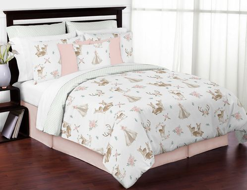 Blush Pink, Mint Green and White Boho Watercolor Woodland Deer Floral Girl Full / Queen Kid Teen Bedding Comforter Set by Sweet Jojo Designs - 3 pieces - Click to enlarge