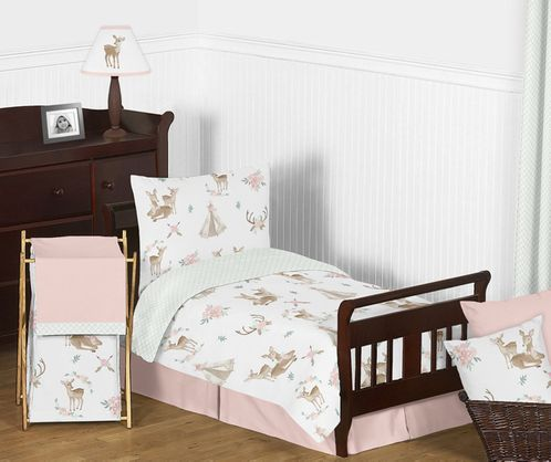 Blush Pink, Mint Green and White Boho Watercolor Woodland Deer Floral Girl Toddler Kid Childrens Bedding Set by Sweet Jojo Designs - 5 pieces Comforter, Sham and Sheets - Click to enlarge