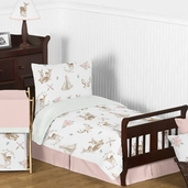Blush Pink, Mint Green and White Boho Watercolor Woodland Deer Floral Girl Toddler Kid Childrens Bedding Set by Sweet Jojo Designs - 5 pieces Comforter, Sham and Sheets