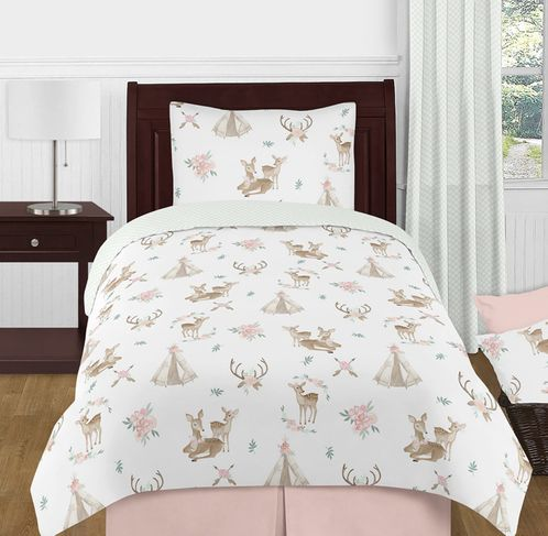 Blush Pink, Mint Green and White Boho Watercolor Woodland Deer Floral Girl Twin Kid Childrens Bedding Comforter Set by Sweet Jojo Designs - 4 pieces - Click to enlarge