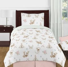 Blush Pink, Mint Green and White Boho Watercolor Woodland Deer Floral Girl Twin Kid Childrens Bedding Comforter Set by Sweet Jojo Designs - 4 pieces