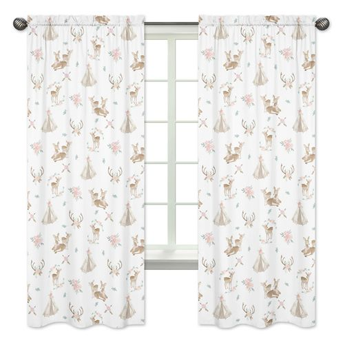 Blush Pink, Mint Green and White Boho Window Treatment Panels Curtains for Woodland Deer Floral Collection by Sweet Jojo Designs - Set of 2 - Click to enlarge