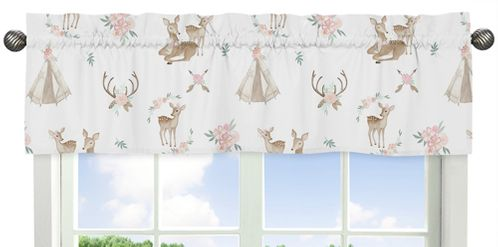 Blush Pink, Mint Green and White Boho Window Treatment Valance for Woodland Deer Floral Collection by Sweet Jojo Designs - Click to enlarge