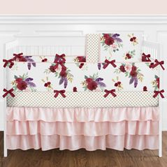 Blush Pink, Red, Purple, Gold and Green Watercolor Boho Feather Floral Arrow Baby Girl Nursery Crib Bedding Set with Bumper by Sweet Jojo Designs - 9 pieces - Watercolor Rose Flower