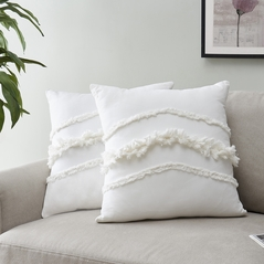 KB & Me Bohemian Boho Chic Ivory Macrame Tufted Tassel Square Accent Decorative Couch Throw Pillow Cover Case Solid Cream Textured Minimalist Off White Cotton Fringe Farmhouse Indie Neutral Set of 2 - 18x18