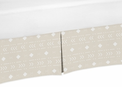 Boho Aztec Geometric Boy or Girl Baby Nursery Crib Bed Skirt Dust Ruffle by Sweet Jojo Designs - Gender Neutral Beige Taupe Tan and White Bohemian Southwest Tribal for Llama Collection