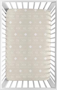 Boho Aztec Geometric Boy or Girl Fitted Mini Crib Sheet Baby Nursery by Sweet Jojo Designs For Portable Crib or Pack and Play - Gender Neutral Beige Taupe Tan and White Bohemian Southwest Tribal for Llama Collection