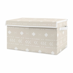 Boho Aztec Geometric Boy or Girl Small Fabric Toy Bin Storage Box Chest For Baby Nursery or Kids Room by Sweet Jojo Designs - Gender Neutral Beige Taupe Tan and White Bohemian Southwest Tribal for Llama Collection