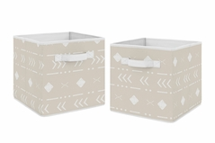 Boho Aztec Geometric Foldable Fabric Storage Cube Bins Boxes Organizer Toys Kids Baby Childrens by Sweet Jojo Designs - Set of 2 - Gender Neutral Beige Taupe Tan and White Bohemian Southwest Tribal for Llama Collection