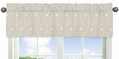 Boho Aztec Geometric Window Treatment Valance by Sweet Jojo Designs - Gender Neutral Beige Taupe Tan and White Bohemian Southwest Tribal for Llama Collection