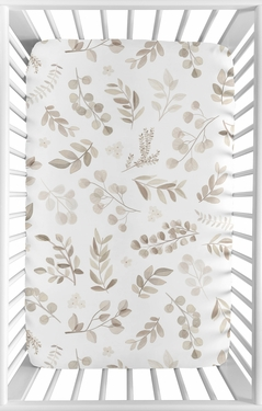 Boho Botanical Leaf Boy or Girl Fitted Mini Crib Sheet Baby Nursery by Sweet Jojo Designs For Portable Crib or Pack and Play - Gender Neutral Ivory Cream Beige Tan Off White Taupe Woodland Farmhouse Floral Leaves Bohemian Garden