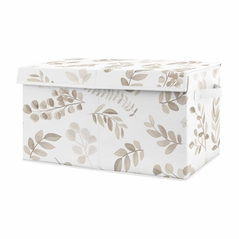 Boho Botanical Leaf Boy or Girl Small Fabric Toy Bin Storage Box Chest For Baby Nursery or Kids Room by Sweet Jojo Designs - Gender Neutral Ivory Cream Beige Tan Off White Taupe Linen Woodland Farmhouse Floral Leaves Bohemian Garden