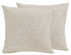 Boho Botanical Leaf Decorative Accent Throw Pillows by Sweet Jojo Designs - Set of 2 - Gender Neutral Ivory Cream Beige Tan Off White Taupe Linen Woodland Farmhouse Floral Leaves Bohemian Garden