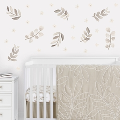 Boho Botanical Leaf Large Peel and Stick Wall Decal Stickers Art Nursery Decor by Sweet Jojo Designs - Set of 4 Sheets - Gender Neutral Ivory Cream Beige Tan Off White Taupe Woodland Farmhouse Floral Leaves Bohemian Garden