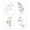 Boho Botanical Leaf Wall Art Prints Room Decor for Baby, Nursery, and Kids by Sweet Jojo Designs - Set of 4 - Gender Neutral Ivory Cream Beige Tan Off White Taupe Woodland Farmhouse Floral Leaves Bohemian Garden Single Flower