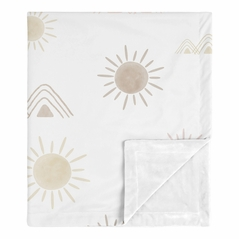 Boho Desert Sun Baby Girl Blanket Receiving Security Swaddle for Newborn or Toddler Nursery Car Seat Stroller Soft Minky by Sweet Jojo Designs - Blush Pink Mauve Gold Taupe Bohemian Watercolor Mountains Southwest Nature Outdoors Minimalist Geometric