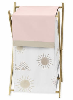Boho Desert Sun Baby Kid Clothes Laundry Hamper by Sweet Jojo Designs - Blush Pink Mauve Gold Taupe Bohemian Watercolor Mountains Southwest Nature Outdoors Minimalist Geometric