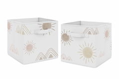 Boho Desert Sun Foldable Fabric Storage Cube Bins Boxes Organizer Toys Kids Baby Childrens by Sweet Jojo Designs - Set of 2 - Blush Pink Mauve Gold Taupe Bohemian Watercolor Mountains Southwest Nature Outdoors Minimalist Geometric